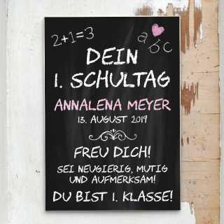 Schild für Mädchen Dein 1. Schultag DINA5