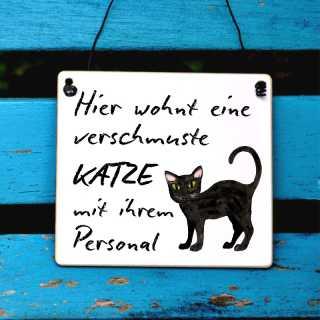 Schild verschmuste Katze mit Personal