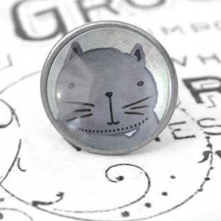 Kinder Möbelknopf mit Tiermotiv fürs Kinderzimmer Katze