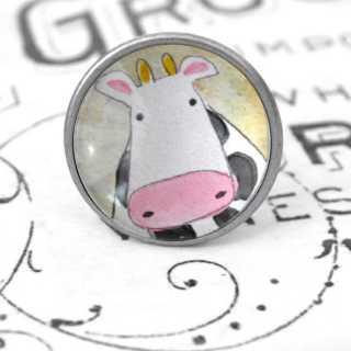 Kinder Möbelknopf mit Tiermotiv fürs Kinderzimmer Kuh