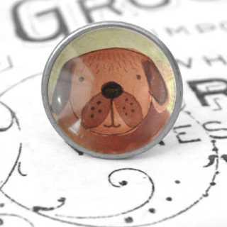 Kinder Möbelknopf mit Tiermotiv fürs Kinderzimmer Hund alt Zinn brüniert (altsilberner Look)