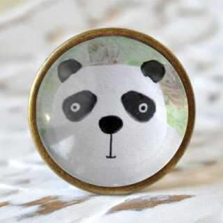 Kinder Möbelknopf mit Tiermotiv fürs Kinderzimmer Pandabär alt Messing brüniert (altgoldener Look)