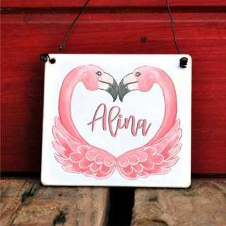 Kinderzimmer-Schild mit Flamingomotiv und Wunschname