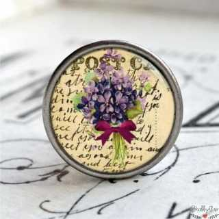 Möbelknopf Vintage Blume lila