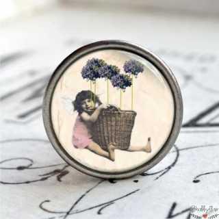 Möbelknopf Metallknauf Girl Purple Flower