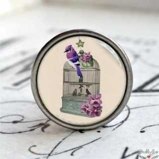 Möbelknopf Metallknauf Vogelbauer Purple Flower