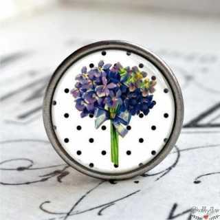 Möbelknopf Metallknauf Hortensie Purple Flower