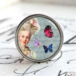 Möbelknopf Metallknauf Schmetterling Blue Versailles