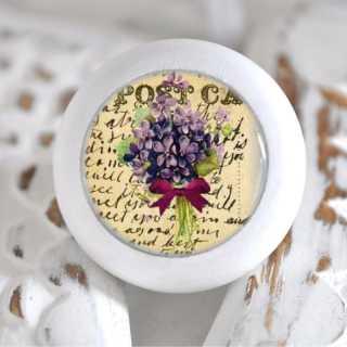 Möbelknauf Holzknauf Hortensien Blüte Purple Flowers
