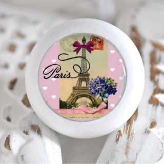 Möbelknauf Holzknauf Eiffelturm Purple Flowers