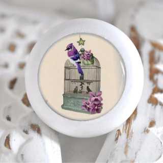 Möbelknauf Holzknauf Vogelbauer Purple Flowers