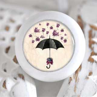 Möbelknauf Holzknauf Regenschirm mit Blütenblättern Purple Flowers