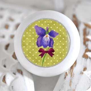 Möbelknauf Holzknauf Lilie Purple Flowers
