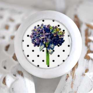 Möbelknauf Holzknauf Hortensie Purple Flowers