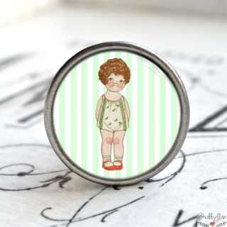 Möbelknauf Metallknauf mit Kindermotiv Enfant Paris Vert