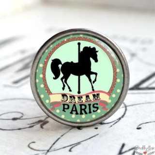 Möbelknauf Metallknauf Karussellpferd Paris Vert