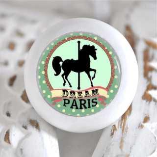 Möbelknauf Holzknauf Karussellpferd Paris Vert