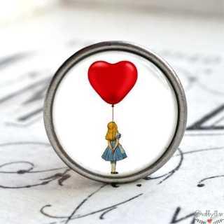 Kinder Möbelknopf Alice im Wunderland mit Herzballon