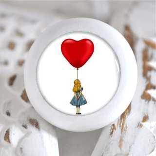 Kinder Möbelknopf Holzknauf Alice im Wunderland Herz Ballon