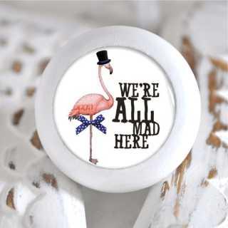 Kinder Möbelknopf Holz Alice im Wunderland Flamingo