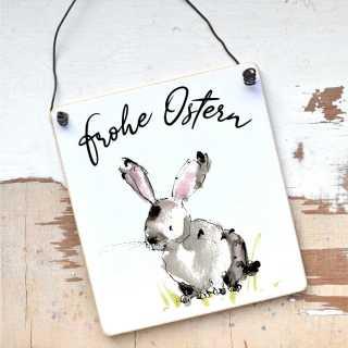 Schild Frohe Ostern mit süßem Hasenmotiv