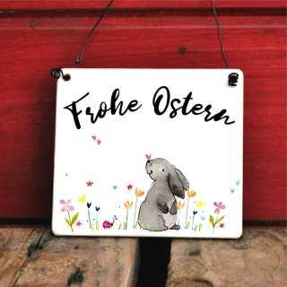 österliches Schild Frohe Ostern mit putzigem Hasenmotiv