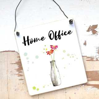 Schild Home Office Large: 17 x 20 x 0,4 cm Holz