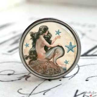 Maritimer Möbelknopf Metallknauf anmutige Meerjungfrau