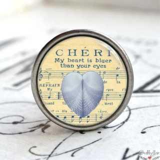 Maritimer Möbelknopf Metallknauf blaues Herz