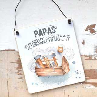 Schild Papas Werkstatt individualisierbar mit Name