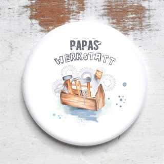 Button Magnetflaschenöffner Papas Werkstatt mit Wunschname