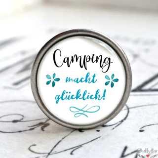 Metallknauf Möbelknauf Camping macht glücklich