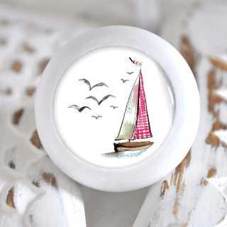 Maritimer Möbelknauf Holzknauf Segelschiff rot weiß