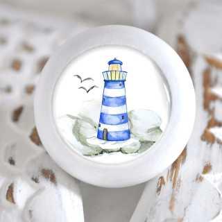 Maritimer Möbelknauf Holzknauf Leuchtturm blau weiß
