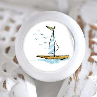 Maritimer Möbelknauf Holzknauf Segelboot blau weiß