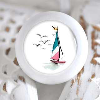 Maritimer Möbelknauf Holzknauf Segelboot grün rosa
