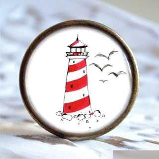 Maritimer Metallknauf Möbelknopf Leuchtturm rot weiß alt Messing brüniert (altgoldener Look)