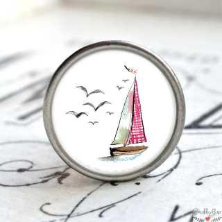 Maritimer Metallknauf Möbelknopf Segelschiff rot weiß