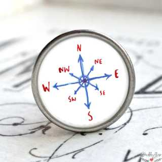Maritimer Metallknauf Möbelknopf Kompass Windrose
