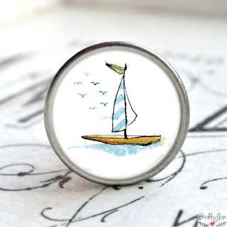 Maritimer Metallknauf Möbelknopf Segelboot blau weiß