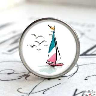 Maritimer Metallknauf Möbelknopf Segelboot grün rosa
