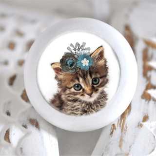 Möbelknauf mit Tierbaby-Motiv Katze