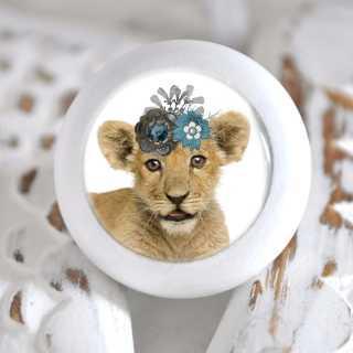 Möbelknauf mit Tierbaby-Motiv Löwe
