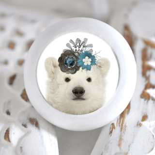 Möbelknopf mit Tierbaby-Motiv Eisbär