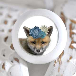 Möbelknopf mit Tierbaby-Motiv Fuchs