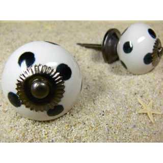 Keramik Knauf Möbelknopf weiss mit schwarzen Punkten (3,8 cm)