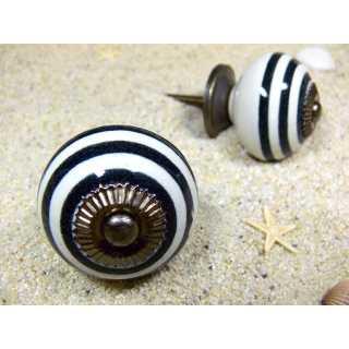 Keramik Knauf Möbelknopf schwarz-weiß gestreift (3,8 cm)