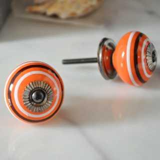 Knauf Möbelknopf orange mit weißen und braunen Streifen (3,8 cm)