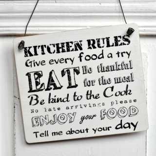 Dekoschild aus Holz KITCHEN RULES Regeln für die Küche