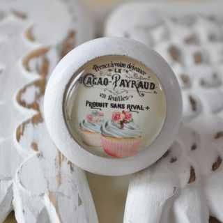 Shabby Chic Möbelknauf Cacao Cupcake von Shabbyflair weiß